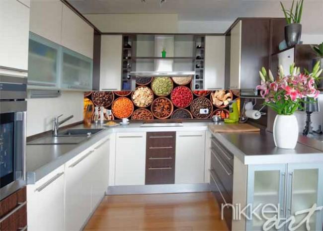 Cr dence de cuisine en verre imprim herbe epice - Credence autocollante cuisine ...