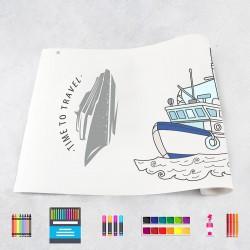 Rouleau de dessin bateaux
