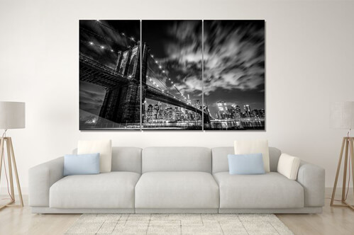 Impression photo sur verre Brooklyn Bridge noir et blanc