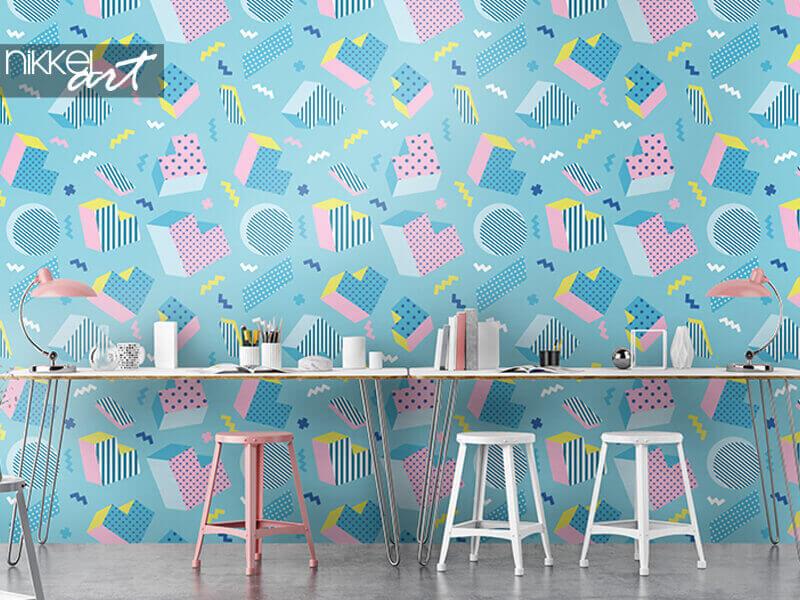 Papier peint Motif de fond bleu géométrique coloré old school sans soudure