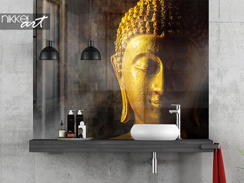 Salle de bain murale en verre imprimé Bouddha thaï