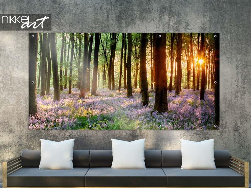 Poster de jardin Lever du soleil en bois Bluebell