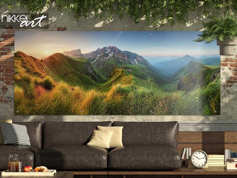 Poster de Jardin Panorama du lever du soleil dans les Dolomites