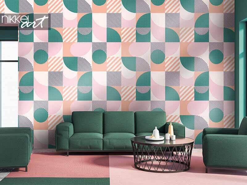 Papier peint motif sans soudure géométrique coloré dans un style scandinave