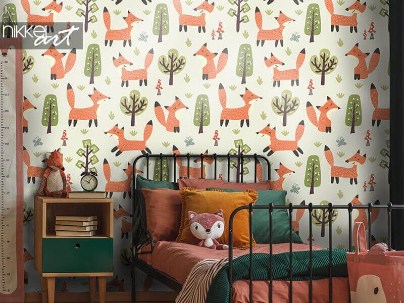 Papier peint motif forêt avec petits renards