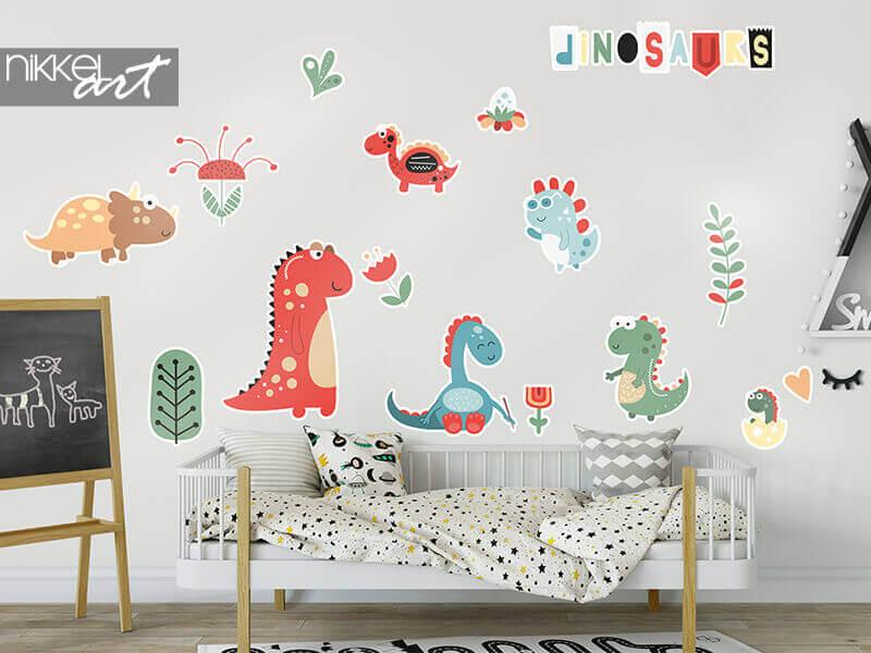 Stickers decoupes dinosaures et fleurs