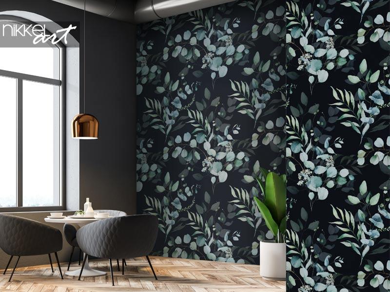 Papier peint Motif floral aquarelle sans couture - feuilles et branches vertes