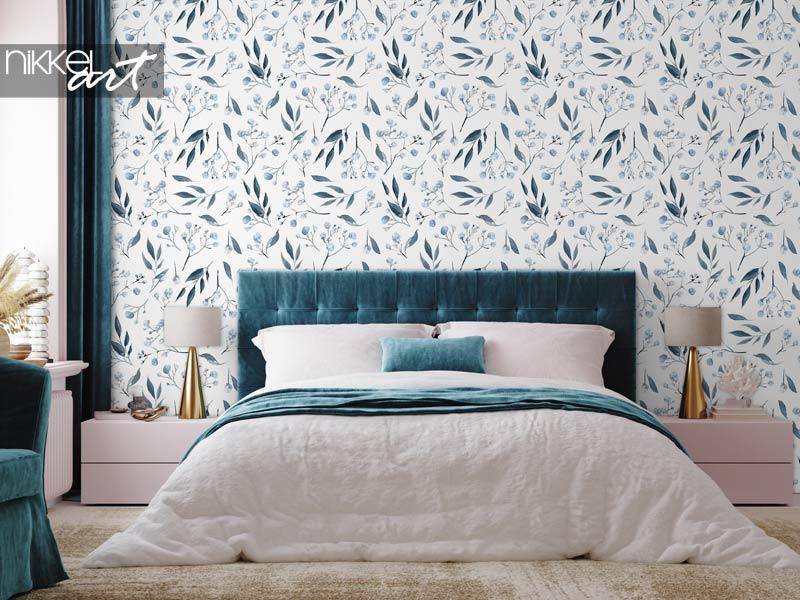 Papier peint Aquarelle transparente motif plantes noires et bleues