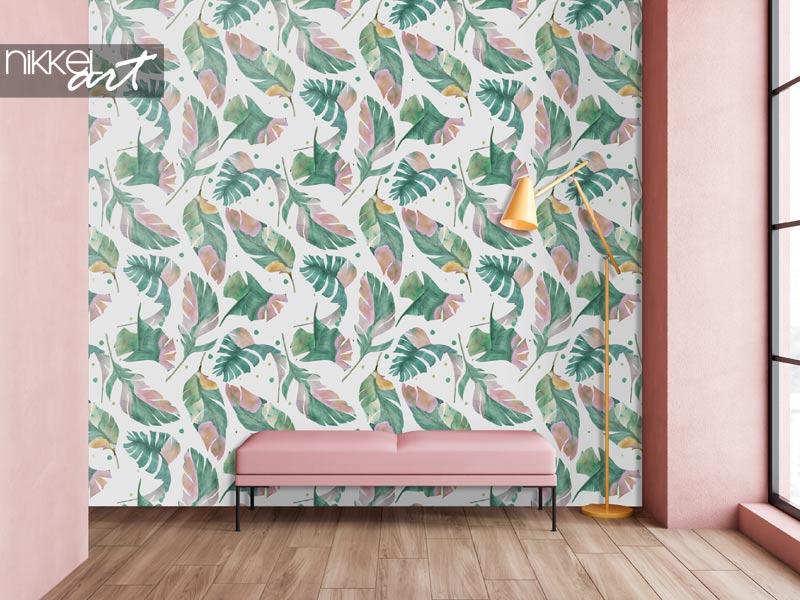 Papier peint Peinture aquarelle modèle sans couture avec des feuilles de bananier tropicales