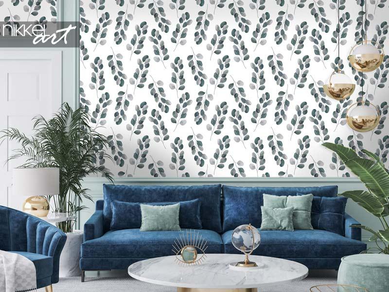 Papier peint Modèle sans couture aquarelle tropical avec des branches d'eucalyptus
