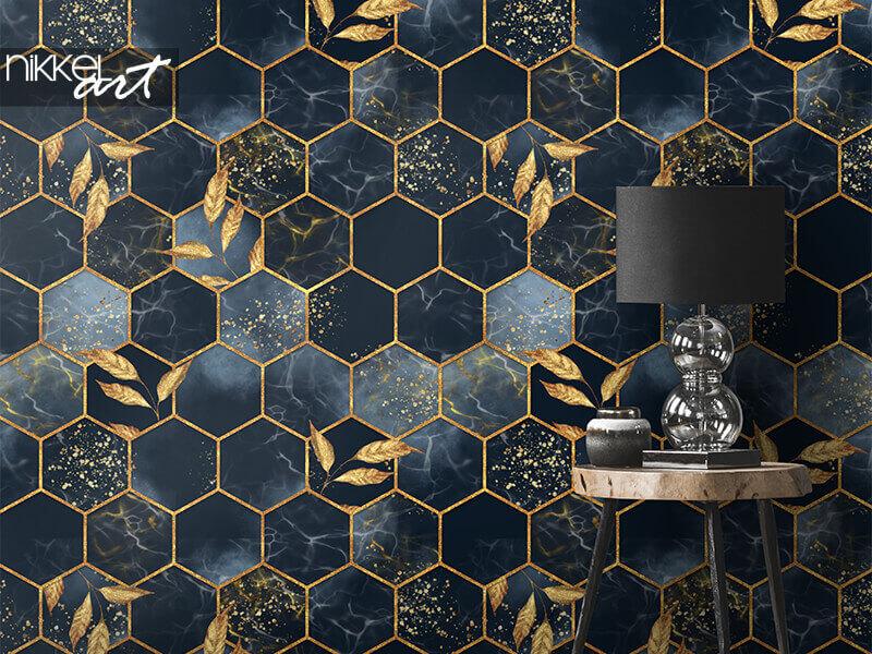 Papier peint texture transparente hexagonale en marbre avec des feuilles d'or