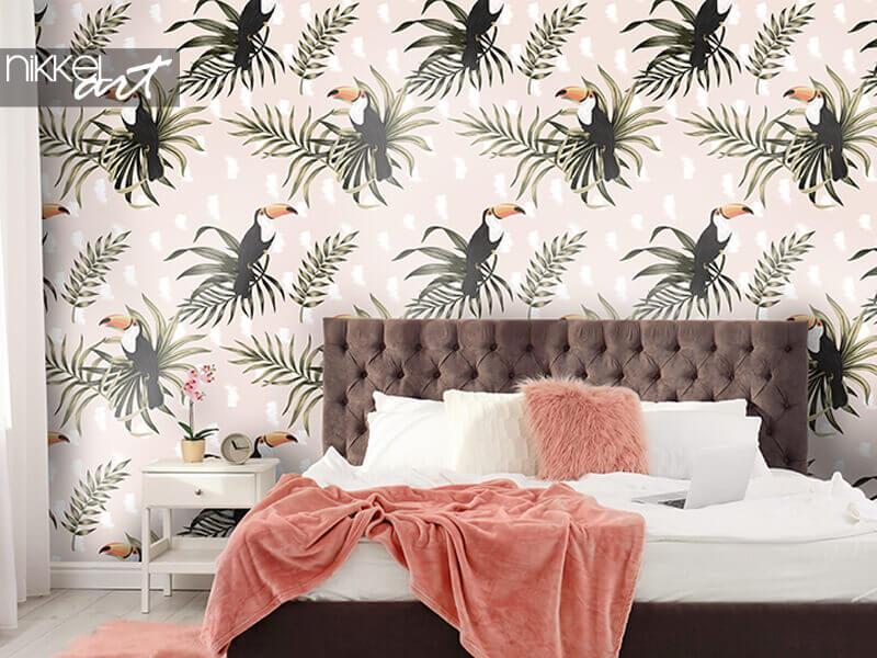 Papier peint tropical vintage oiseau exotique toucan