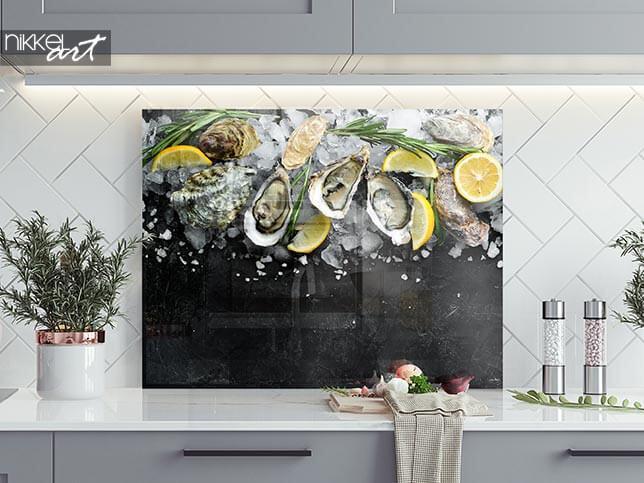 Fond de hotte en verre imprimé Huître au citron sur glace