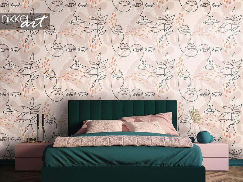 Un papier peint photo pour plus d'ambiance dans la chambre à coucher