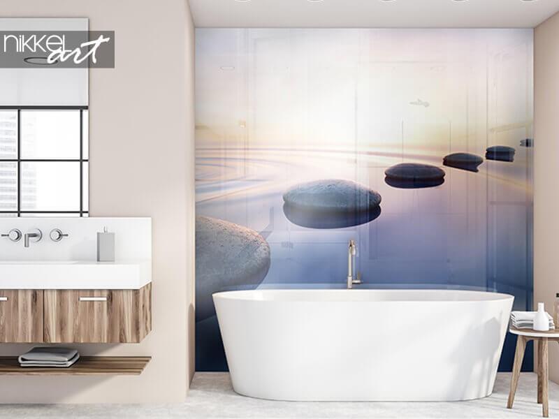 Ajoutez de l'ambiance à votre salle de bain avec un fond de hotte photo