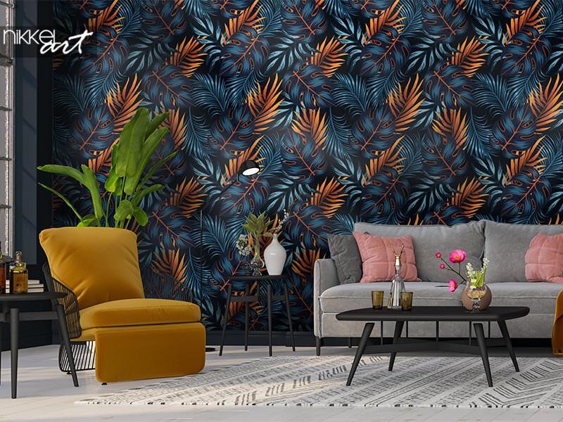 Papier peint photo dans le salon: inspiration et idées