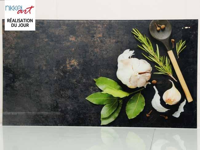 Cr dence de cuisine en verre imprim condiment for Credence cuisine verre imprime