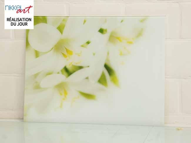 Cr dence de cuisine en verre imprim fleur for Credence cuisine verre imprime