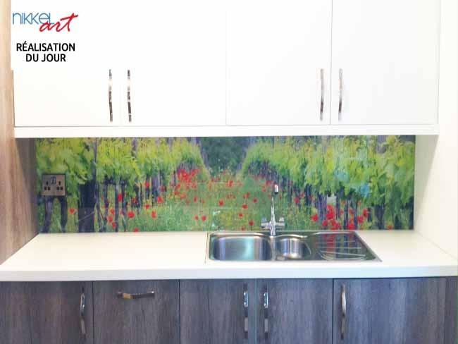 Cr dence de cuisine en verre imprim vignoble - Credence cuisine a coller ...