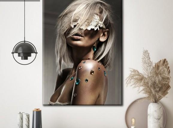 Dame blonde glamour sur toile classique