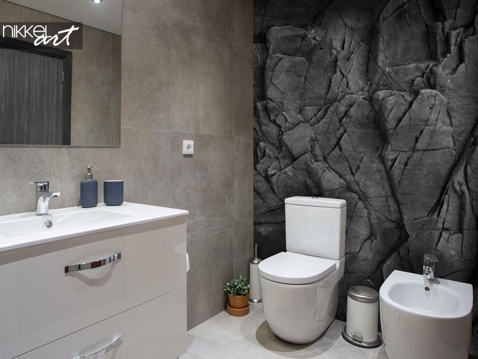 Salle de Bain Avec Papier Peint Photo Black Stones