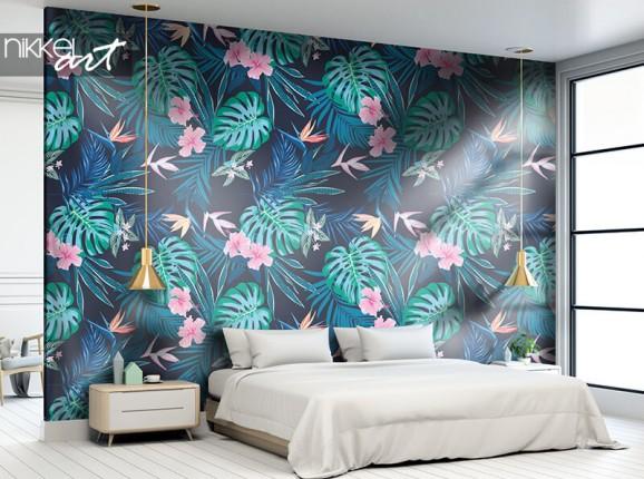 Papier peint à imprimé feuilles tropicales