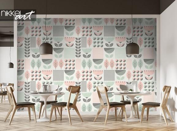 Papier peint à motif de feuilles scandinaves