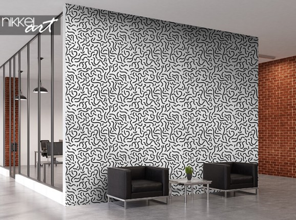 Papier peint abstrait noir et blanc