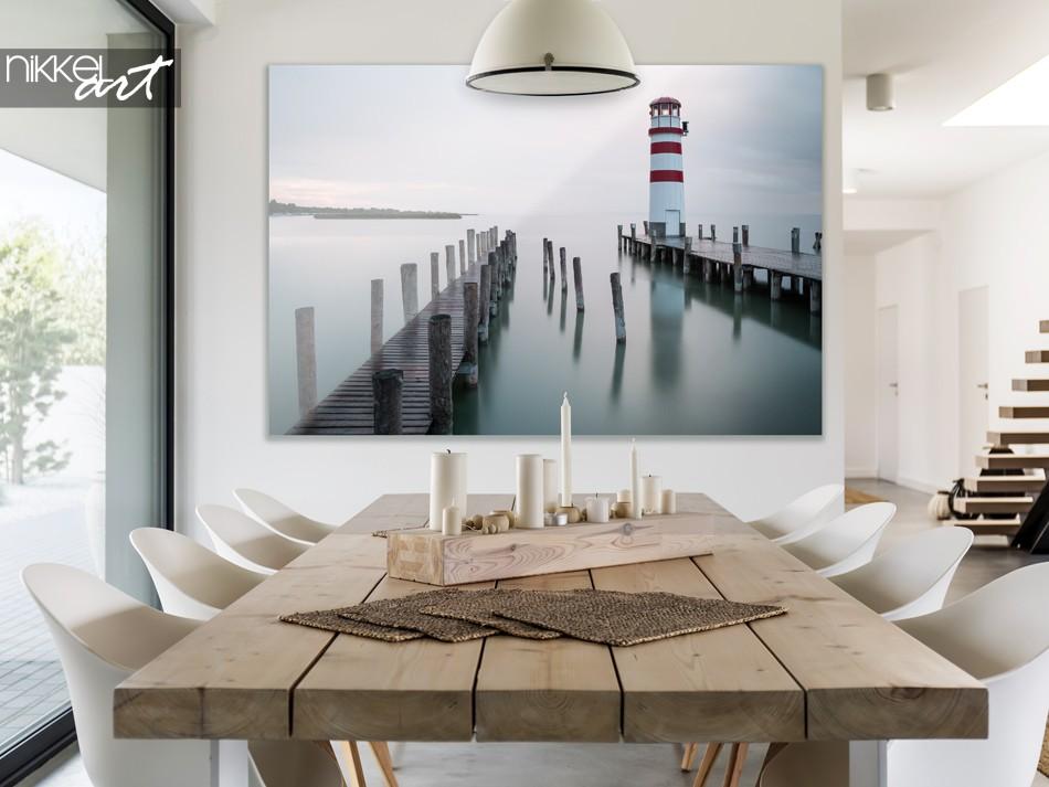 Salle à manger avec photo phare traditionnel sur plexiglas