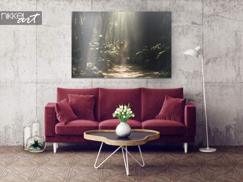 Intérieur exotique avec forêt tropicale en bambou sur aluminium