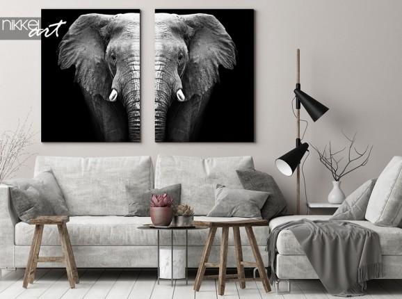 Éléphant noir et blanc sur toile