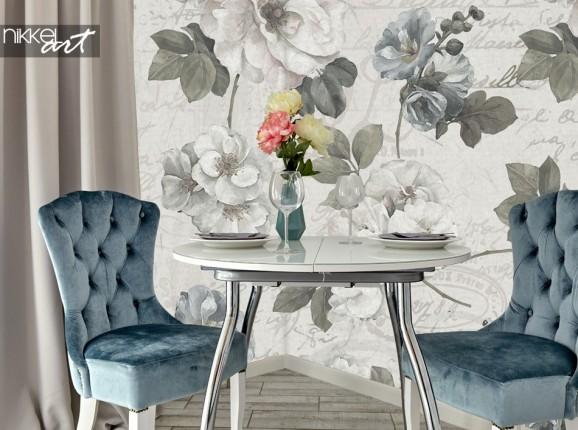 Salle à Manger Papier Peints avec des Fleurs Vintage
