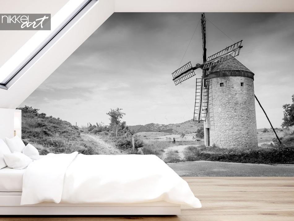 Papier peint d'un moulin en effet noir et blanc