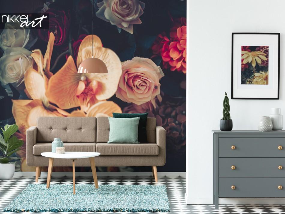Papiers Peints Salon avec des Fleurs de Style Vintage