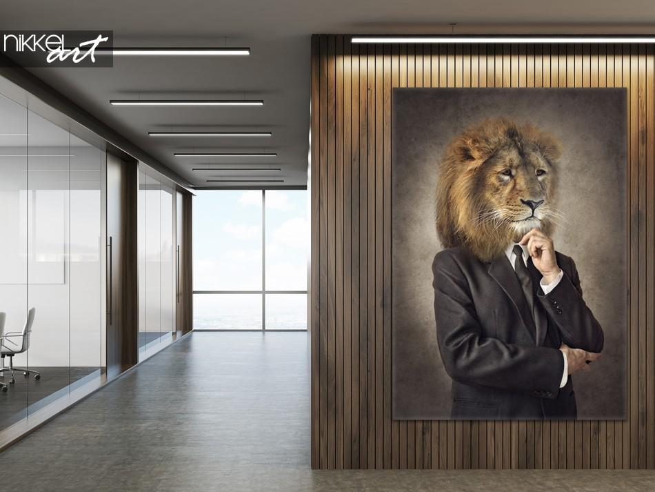 Bureau avec Photo sur Toile Lion Hipster