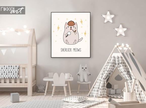 Pépinière avec Poster Illustration Detective Kitten