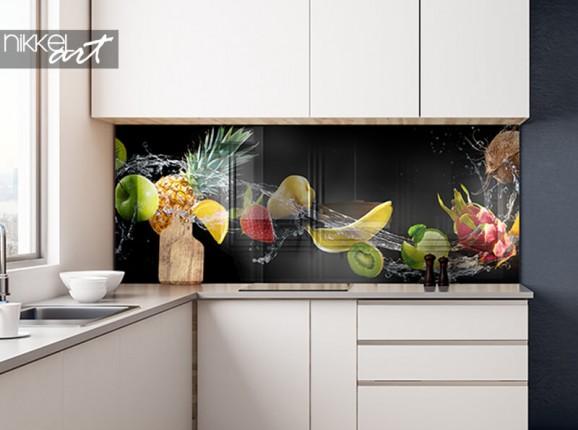 Crédence de cuisine en verre avec fruits