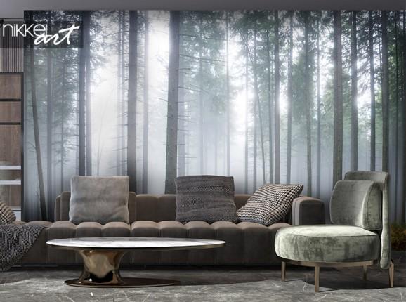 Papier peint photo forêt brumeuse