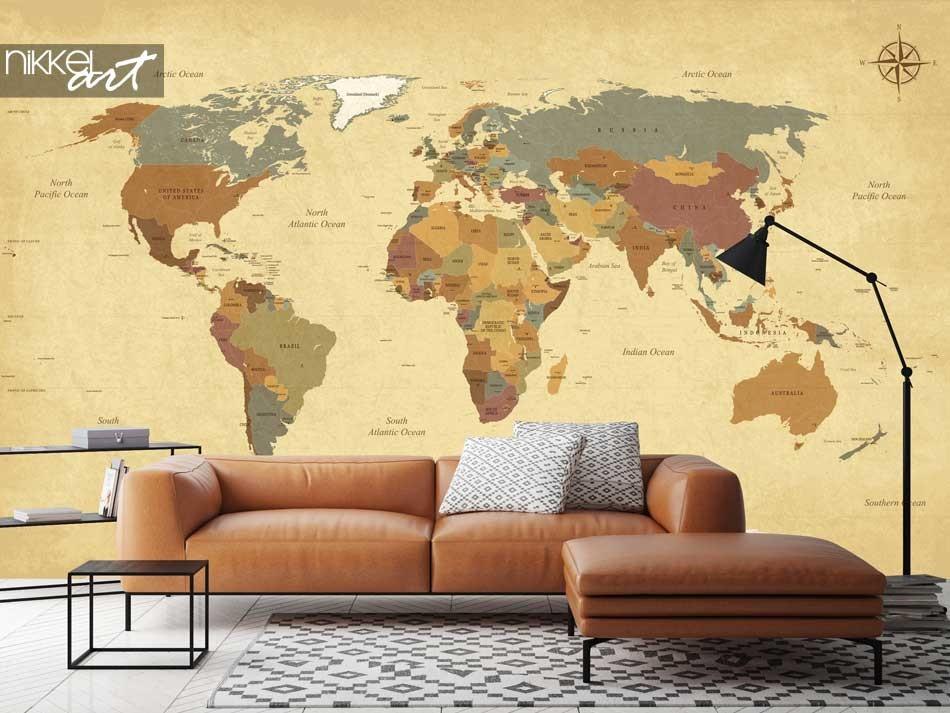 Papier Peint Photo Carte du monde