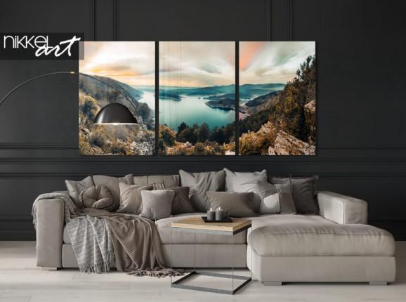 Triptyque plexiglas lac de montagne