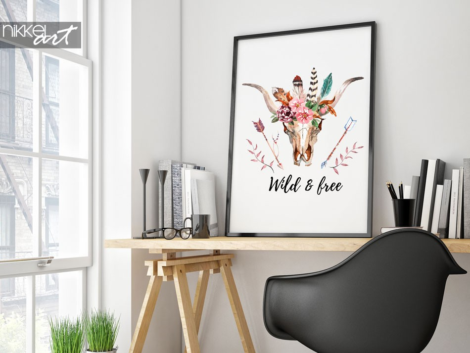 Affiche Boho Chic - Wild & free