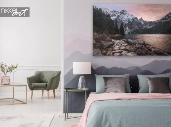 Chambre à coucher avec toile Montagnes de rêve au coucher du soleil