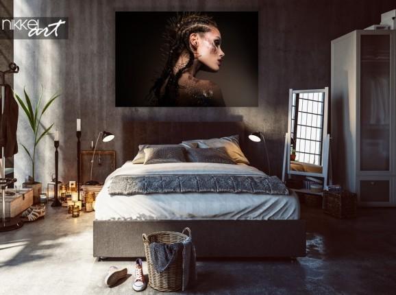Chambre à Coucher avec Photo Modèle Beauty sur Aluminium