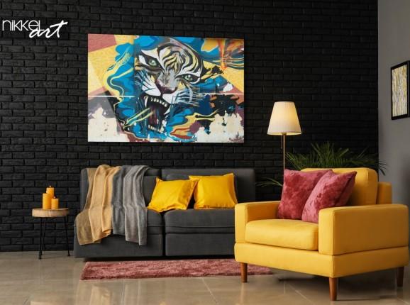 Salon avec Photo Tigre Graffiti sur Plexiglas