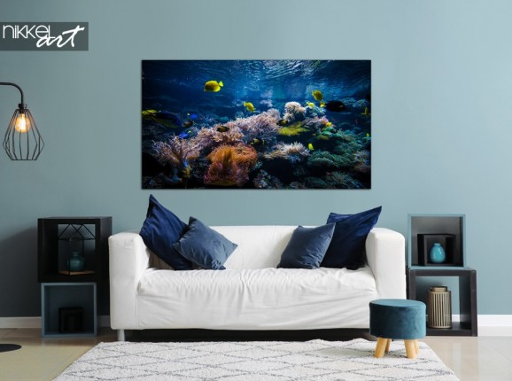 Salon avec Photo Récif de Corail sur Aluminium