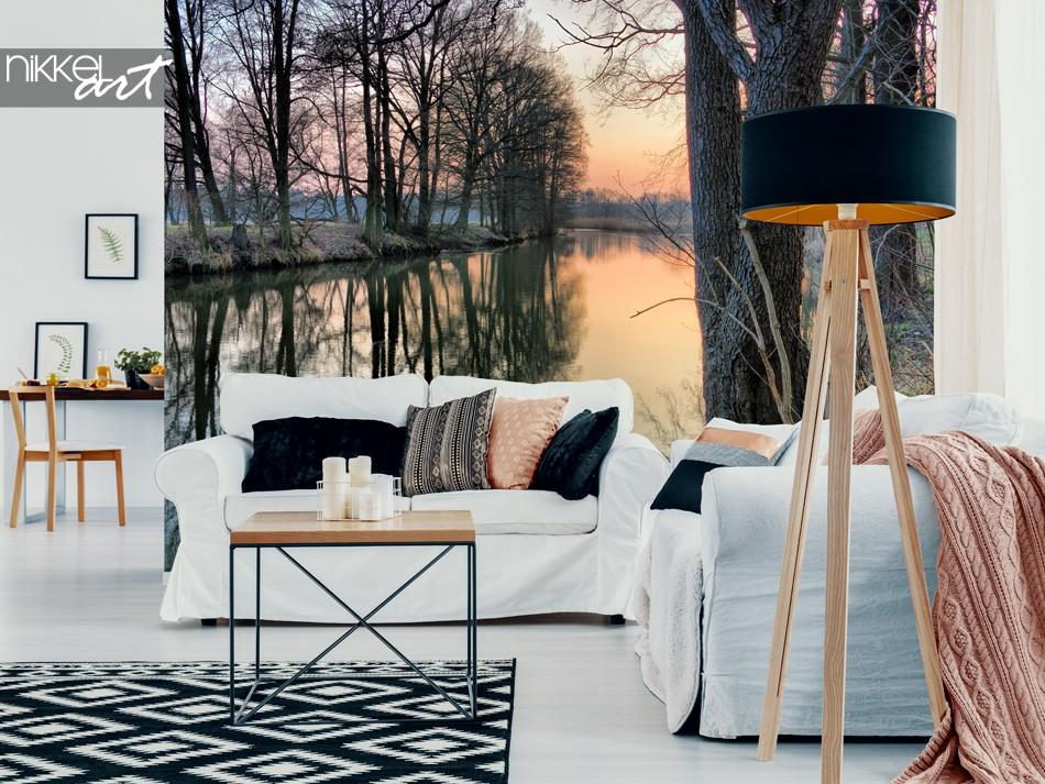 Salon avec Photo Papier Peint Forêt D Hiver