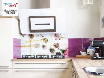 Cr dence de cuisine en verre imprim beton for Credence cuisine verre imprime
