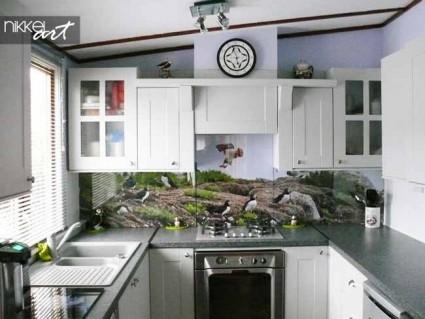 cr dence de cuisine en verre imprim carrelage. Black Bedroom Furniture Sets. Home Design Ideas