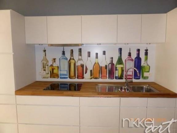Cr dence de cuisine en verre imprim alcool for Credence cuisine verre imprime
