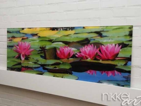 cr dence de cuisine en verre imprim flore aquatique. Black Bedroom Furniture Sets. Home Design Ideas